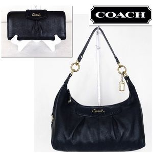Coach Ashley Black Leather Bag & Wallet Set